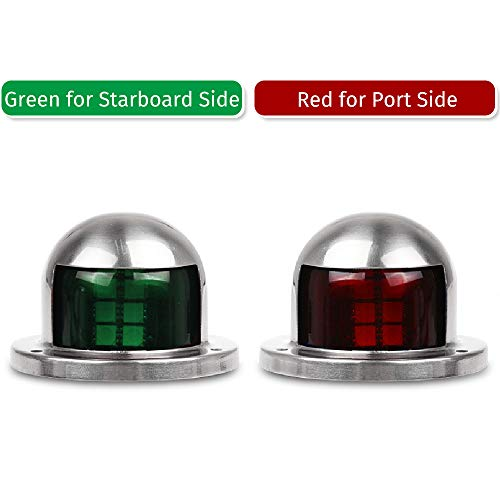 Focket Boat Navigation Lights,12V//24V 1 Pair of Stainless Steel IP67 Waterproof Red and Green LED Navigation Signal Light Anti-corrosion Bulb Lamp for Marine Boat Yacht