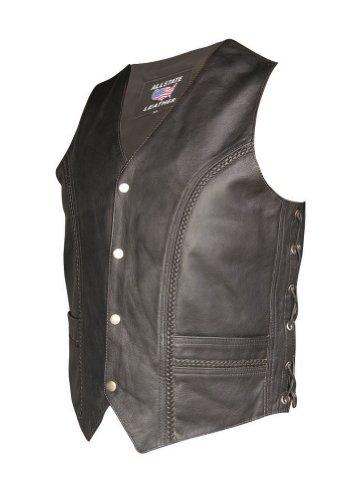Men's AL2206 Braided front & back vest 54 Black