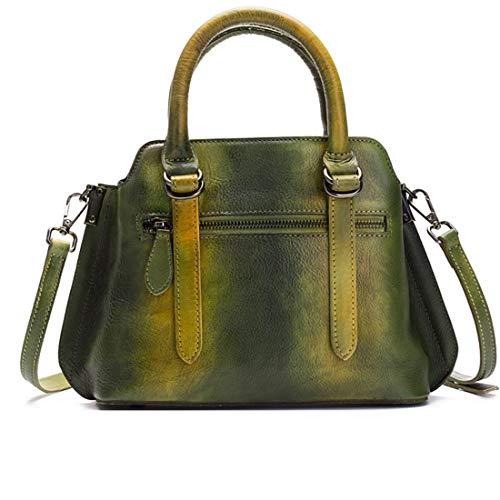 Vintage à cartables pour Sac poignée à Main Color en Main Green fourre Sacs Sac véritable Top Green Tout Cuir à Femmes bandoulière XwOnxaq04Z