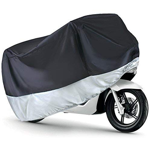 LotFancy All Season Waterproof Sun Motorcycle Cover, Fits up to 96-Inch Scooter Bike, Motors, Dirt Bike and Road Bike, Choppers and Cruisers, All Weather Outdoor Protection, Black