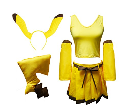 [Another Me Girl's Pokemon Pikachu Cute Top Dress Ear Tail Suit Women Cosplay Costume] (Pikachu Costumes Women)