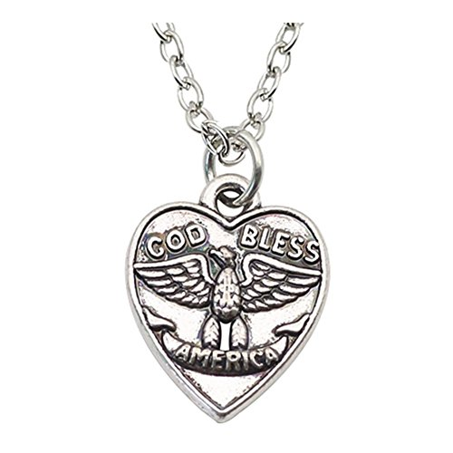 Sterling Silver Plated Call of duty Heart charm Cod bless Engraved eagle Pendant Necklace,20'' ()