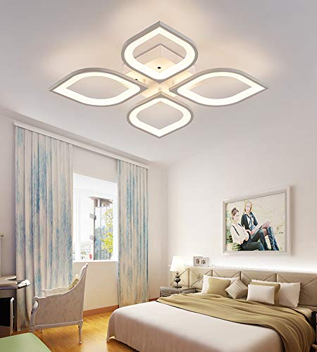 - LITFAD 4 Heads Petal Semi Flush Light Monochromatic LED Ceiling Light Fixture 110-120V 40W Modern Acrylic Ceiling Lamp with White Metal Canopy for Living Room Bedroom Restaurant - White