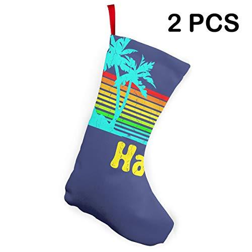 Christmas Santa Stockings Vintage 80s Hawaii Decorations Xmas Socks 2Pcs Set -