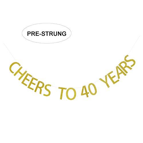 40th Anniversary Party Favors - Gold Glitter Cheers to 40 Years Banner - 40th Birthday Party Decorations - 40th Wedding Anniversary Decorations - NO ASSEMBLY REQUIRED