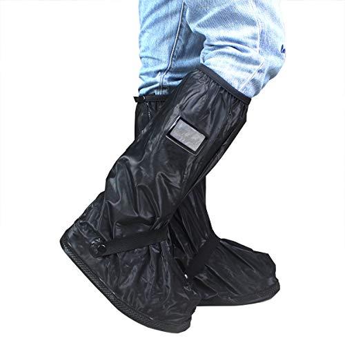 Frelaxy Waterproof Rain Boot Shoe Cover Reflector, Reusable & Foldable Rain Boots, Durable & Rainproof & Anti-Slip Rain Snow Gear Cycling Motorcycle Fishing Men Women Kids (Black, M)
