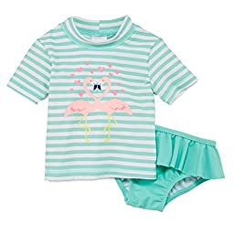 Carters Infant Girls Mint Swimming Suit Flamingo Rash Guard Cover Up Swim 18m