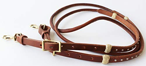 CHALLENGER Horse Western Amish USA Harness Leather Rolled Roper Barrel Reins Brass 66RT12
