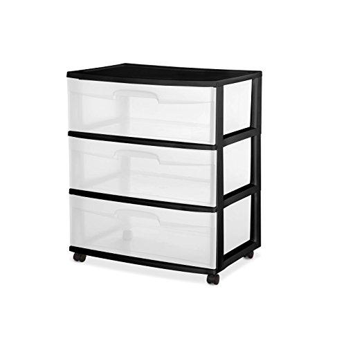 Sterilite 3 drawer Wide Cart black white