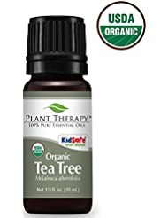 Plant Therapy Tea Tree Oil Organic (Melaleuca Essential Oil) | 100% Pure, Natural, Therapeutic Grade | 10 milliliter (1/3 ounce)