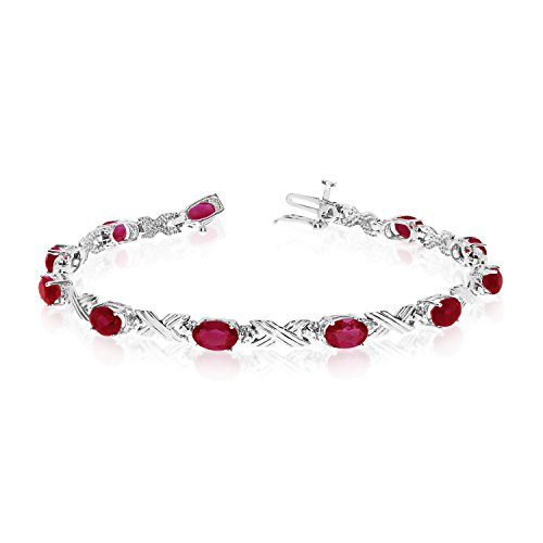 "5.17 Carat (ctw) 14k White Gold Oval Red Garnet and Diamond 'X' Link Tennis Bracelet - 7"" Length"