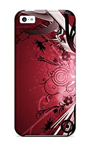 Premium Pretty Flower And Red Heavy-duty Protection Case For Iphone 5c