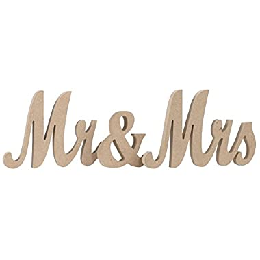 Ling's moment Vintage Style Mr & Mrs Wooden Letters for Wedding Decoration, DIY Decor