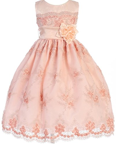 Little Girls Embroidered Flower Adorned Easter Flowers Girls Dresses Peach 4T