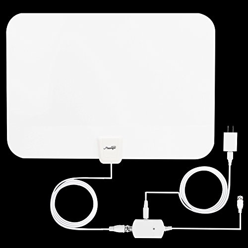 White TV Antenna, Prestige Indoor Amplified HDTV Antenna 50 Mile Range with Detachable Amplifier Signal Booster, USB PowerSupply and 16.4FT High Performance Coax Cable -digital tv antenna