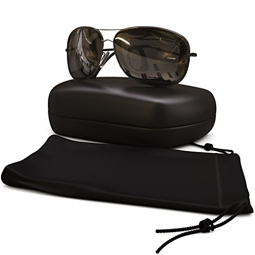 Classic Aviator Sunglasses Polarized - Best Glasses for Women and Men - 400 UVA Uv + UVB Protection From Sun - Block Reflections + Scratch - Uva Uvb Uv