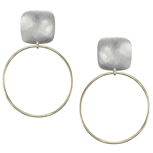 Rounded Square Earrings - Marjorie Baer Rounded Square with Large Ring Clip on Earring in Brass and Silver