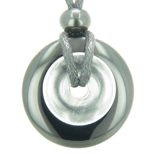 Astrological Leo Amulet Double Lucky Donuts Black Agate Rock Quartz Pendant Necklace