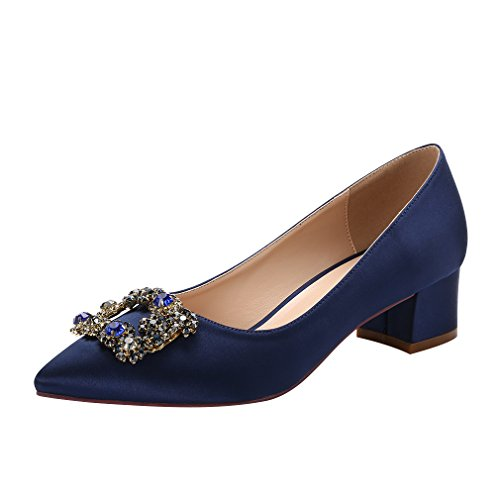 ERIJUNOR E2233 Women Comfort Low Heel Closed Toe Rhinestone Wedding Evening Satin Shoes Navy Size 11