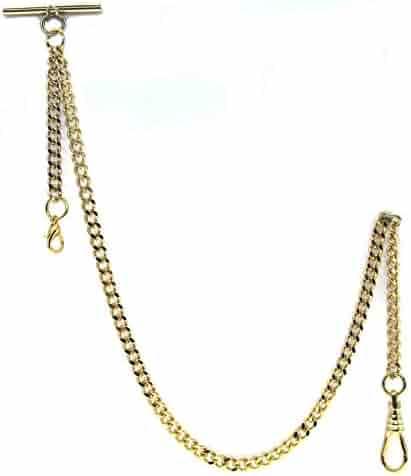 Gold Albert Chain Pocket Watch Curb Link Chain Fob T Bar + Swivel Clip + Lobster Clasp AC33