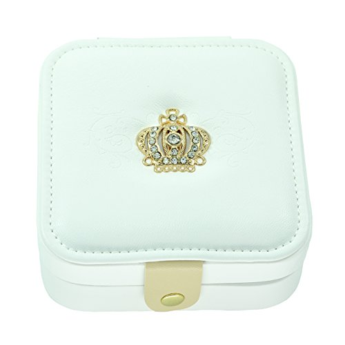 Paialco Faux White Leather Golden Crown Embroidered Jewelry Gift Box Snap -
