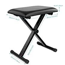 "Bison Prosound (TM) Piano Bench Stool 3-Position Height Adjustment(16.5""/17.5""/19.5"", 42cm/45cm/50cm) Black Folding Super-stable and Durable Padded Keyboard Bench with X-style Iron Legs"
