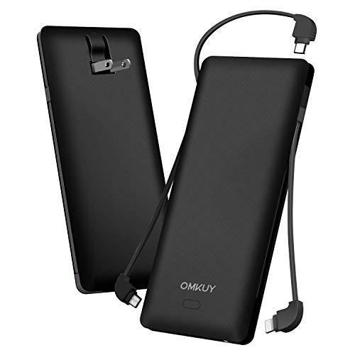 モバイルバッテリー 大容量(PSE認証済み 10000mAh 3ケーブル内蔵 1USBポート ライトニング/micro USB/type-cケーブル内蔵) スマホ 充電器 バッテリー 急速充電 軽量 薄型 コンセント 持ち運び便利 iphone/ipad/Android対応