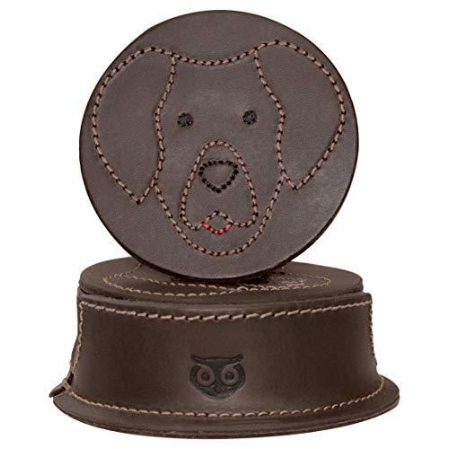 Hide & Drink, Durable Thick Leather Labrador Retriever Doggy/Animal Farm Classic Shaped Coasters (6-Pack) Handmade Includes 101 Year Warranty :: Bourbon Brown