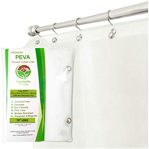 Clean Healthy Living XL Heavy Duty PEVA White Shower Curtain Liner with Suction Cups - 70 X 78 in. Long (Excell Eco Soft Peva Shower Curtain Liner)