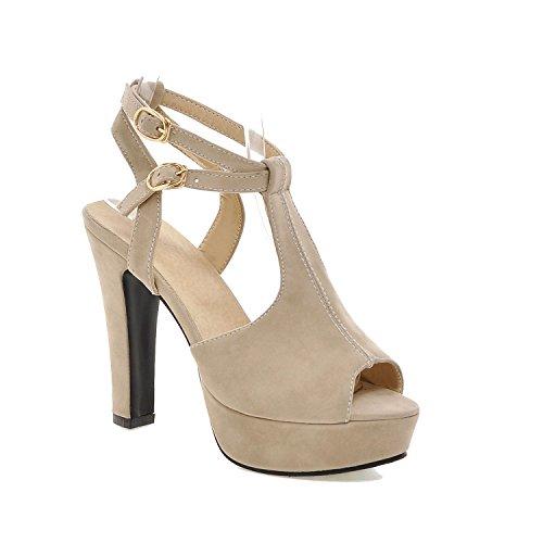 Female Summer Thick Heel high-Heeled Sandal White Elegant Open Toe Shoe Size 31 32 33 44 45 46,Beige,6