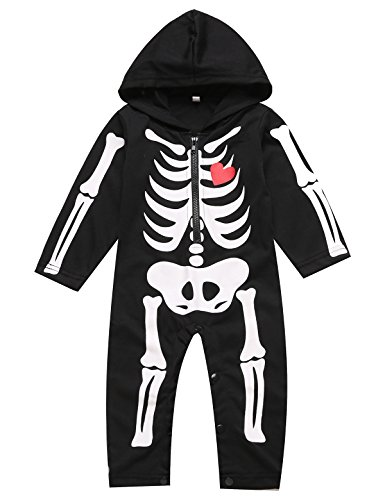 Paddy Field Baby Boy's Skeleton Halloween Costume Long Sleeve Hoodie (6-12 Months, Black01) -