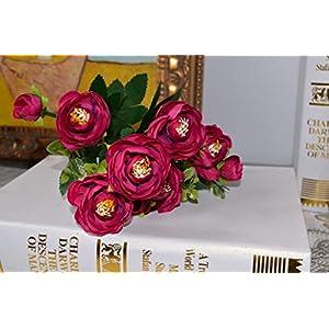 MZjJPN 6 Branches Vivid Fake Peony Flower Silk Flower Autumn Artificial Flowers Wedding Home Party Decoration,2 25