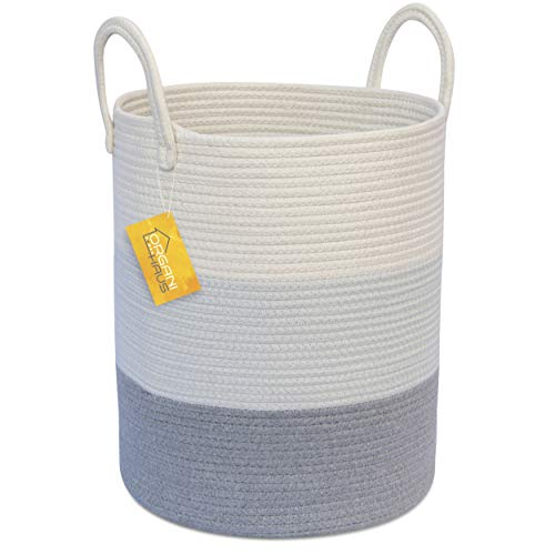 OrganiHaus Cotton Rope Basket in Grey | Tall Storage Basket with Long Handles | Decorative Blanket Basket for Living Room and Laundry (Basket Laundry Rattan Grey)