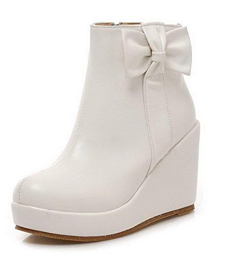 AgooLar Damen Rund Zehe Rein PU Hoher Absatz Stiefel Weiß