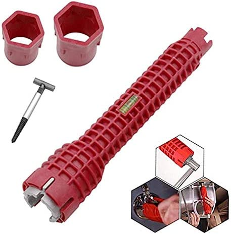 duhe189014 DREI-Kopf-Spülenschlüssel 8-in-1 Multifunktionaler Wasserhahnschlüssel Wasserrohrschlüssel Schraubenschlüssel für Sanitär-Toilettenschüssel Waschbecken Badezimmer Küche