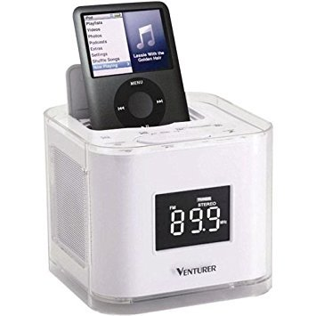 Dual Alarm Clock Radio For IPOD, With Interchangeable Or Make Your Own Wrap