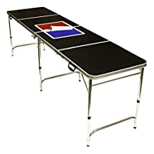 Beer Pong Table 8 FEET - Portable with Pong Balls - Over 35 Designs with Attached Bottle Opener Optional