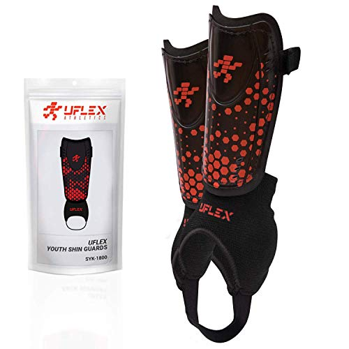 UFlex Athletics Slip and Slide Shin Guards for Kids and Teens - Protective Soccer Gear for Boys and Girls with Padded Ankle Support - Non Slip Adjustable Straps (Medium)