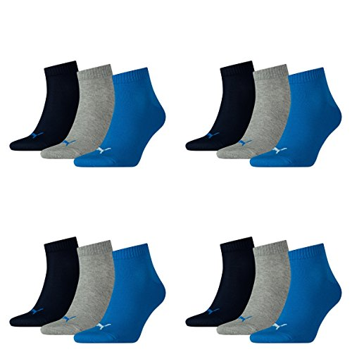 12 pair Puma Sneaker Quarter Socks Unisex Mens & Ladies 277 - blue / grey mélange