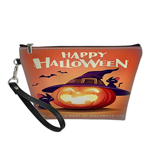 bag for makeupportable cosmetic bagHappy Halloween Halloween pumpkin Black Cat and Jack O Lantern Pumpkin with witch hat 3 8.5