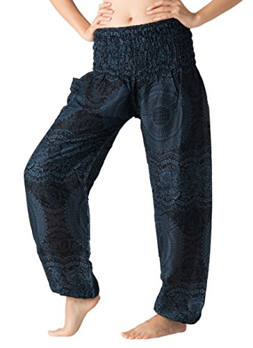 Fair Trade Elephant (Bangkokpants Women's Boho Pants Hippie Clothes Yoga Outfits Peacock Design One Size Fits (Blossom Navy))