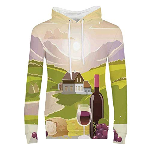 Winery Decor Durable Hoodies,Wine Cheese and Bread with Mountain Landscape in French Rurals Pastoral Scenery for Women,M (Best Wineries In Santa Cruz Mountains)