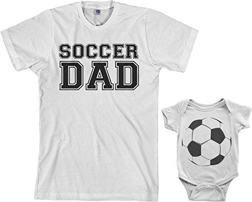 Soccer Dad & Soccer Ball Infant Bodysuit & Men's T-Shirt Matching Set (Baby: 18M, White Men's: S, White)