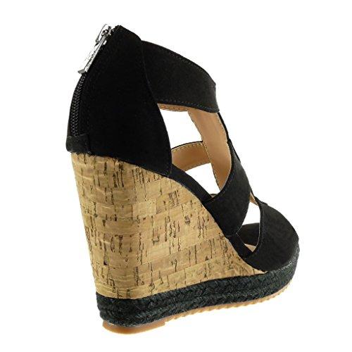 11 Thong Cork Fashion Platform cm Cord Sandals Espadrilles Women's Shoes Black Platform Wedge Angkorly 8wSxPP