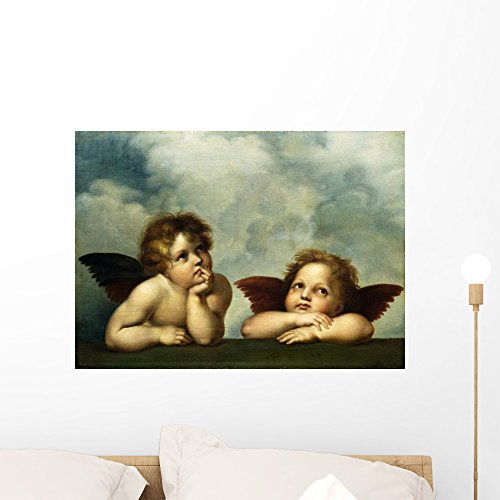 Wallmonkeys Painting of Cherubim After a Detail of Sistine Madonna Raphael Wall Decal Peel and Stick Graphic WM214639 (24 in W x 17 in H)