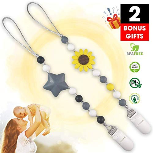 Hoobii Pacifier Clip, Baby Silicone Pacifier Clip 2 Packs, Silicone Teething Beads BPA Free Binky Holder for Girls, Boys, Teether Toys, Soothie, Mam, Drool Bibs