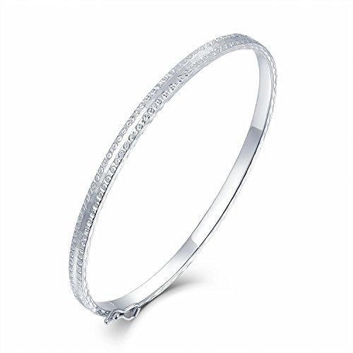 14ct 585Or blanc diamant Bracelet Finition polie (55mm) Femme Bijoux Cadeau