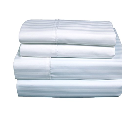 Stripes White 300 Thread Count Queen size Sheet Set 100 % Co