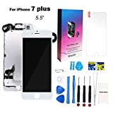 for iPhone 7 Plus Screen Replacement Kit White 5.5'' LCD Display for iPhone 7 Plus Replacement Touch Screen Digitizer Full Assembly + Front Camera + Earpiece + Repair Tools + Screen Protector (White)