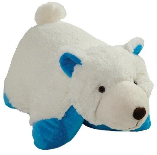 Pillow Pets Wintry Polar Bear Plush - 16'' White/Blue